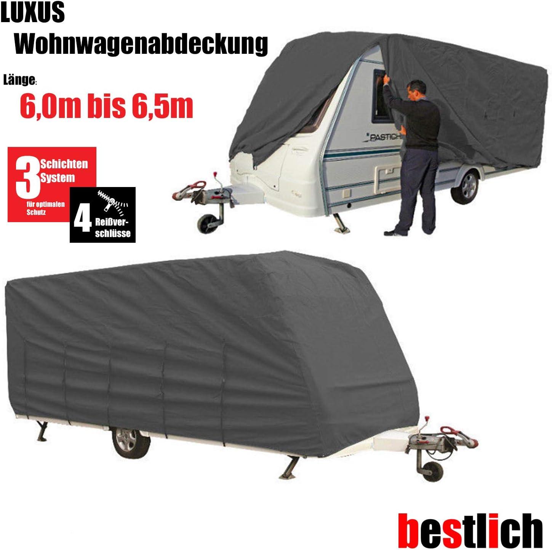 Bestlich Luxus Wohnwagen Abdeckung 6 0 6 5m Größe Xl High Protection 3schichten Gewebe Uv Schutz Auto