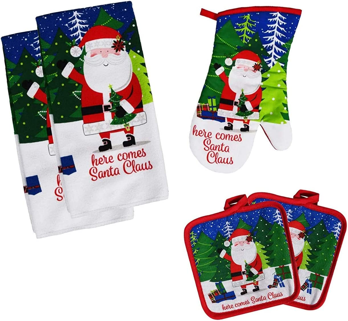 Christmas Towel Set, Winter Themed Decor for Kitchen Bundle of 5 Items, 2 Towels, 2 Potholders, 1 Oven Mitt (Here Comes Santa Claus)