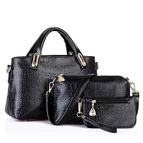 Bolso, Manadlian Mujer Bolso Bolsas de hombro Bolso de mano Cuero Messenger Hobo Bag (32cm x 13cm x 20cm, Negro): Amazon.es: Hogar