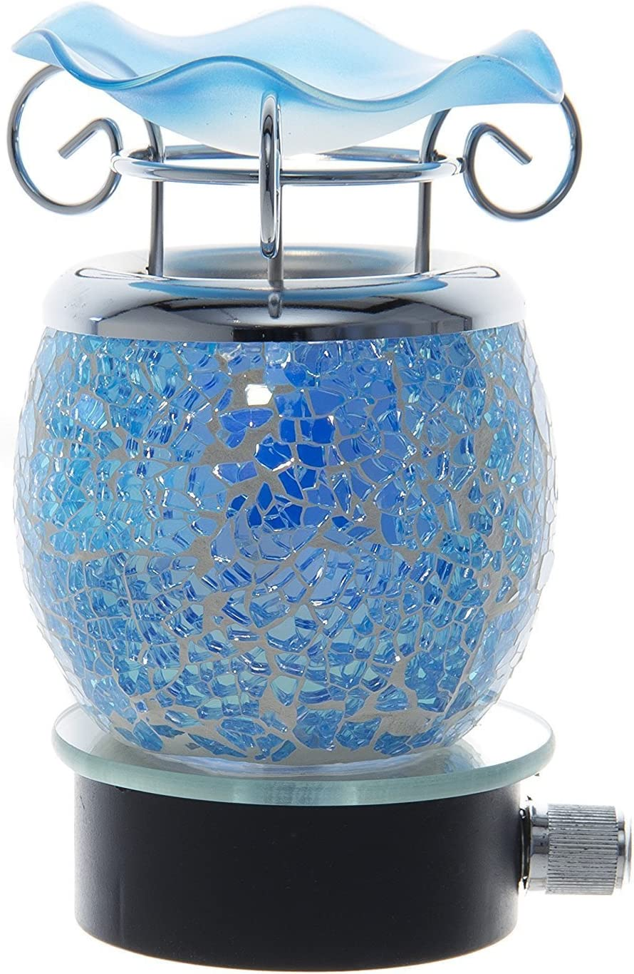 Variation Color Cracked Crystal Design Decorative Glass Electric Plug-in Fragrance Lamp Aromatherapy Oil Warmer/burner Night Light in Gift Box # Mt-044 (Blue)