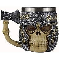 Halloween Mug, Personnalisé Style Viking Double Couche en Acier Inoxydable Crâne Café Chope Tasse de Bière pour les Cadeaux D'anniversaire Décorations de Fête D'Halloween Style 350 ml A