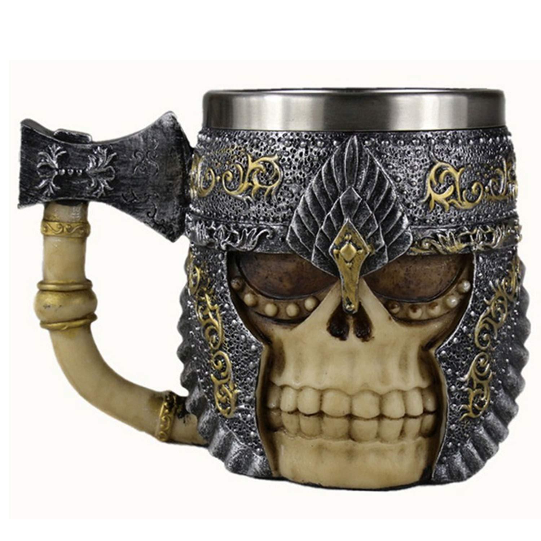 Halloween Mug, Personnalisé Style Viking Double Couche en Acier Inoxydable Crâne Café Chope Tasse de Bière pour les Cadeaux D'anniversaire Décorations de Fête D'Halloween Style 350 ml A Gosear A