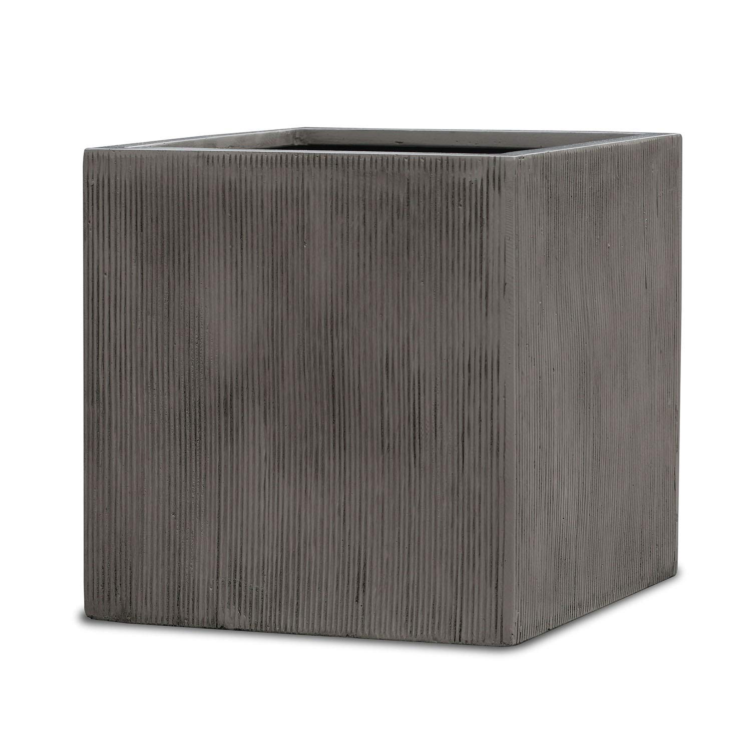 Square Planter - Cube Shaped Vertical Line Indoor Outdoor Flower Pot Brown Cement Color (20'' Inch)