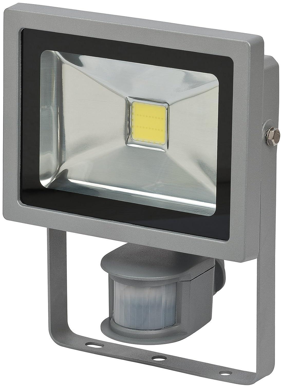 Brennenstuhl Chip-LED-Leuchte / LED Strahler mit Bewegungsmelder Infrarot für außen (Außenstrahler 20 Watt, LED Fluter Tageslicht, IP44) Farbe: silber [Energieklasse A] 1171250222