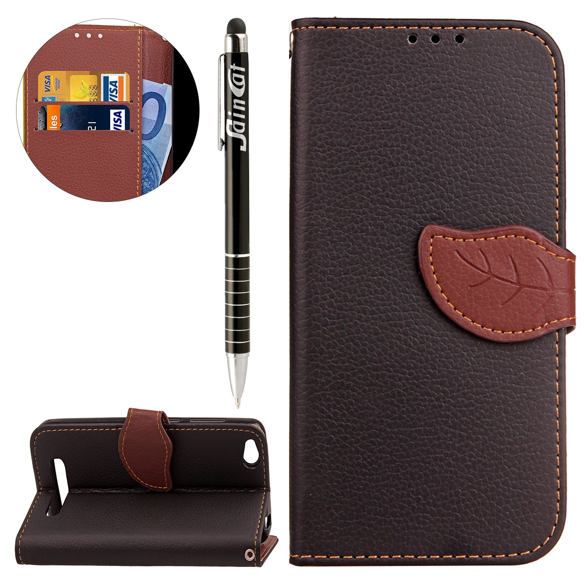Custodia Xiaomi Redmi 4A, Xiaomi Redmi 4A Flip Case Leather, SainCat Custodia in Pelle Cover per Xiaomi Redmi 4A, Anti-Scratch Book Style Protettiva Caso PU Leather Flip Portafoglio Custodia Libro Protettiva Custodia a Portafoglio Wallet Cover, Wallet Case