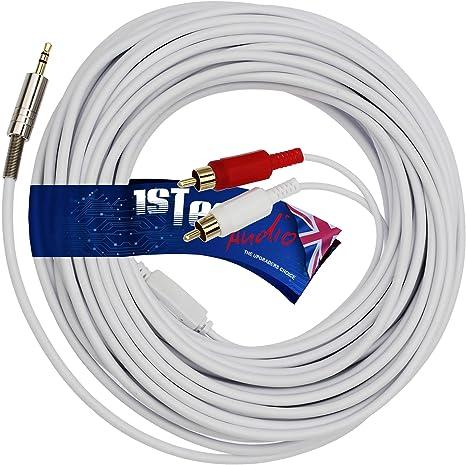 Cable de audio estéreo de 20 m 3.5 mm o minitoma de 1/8