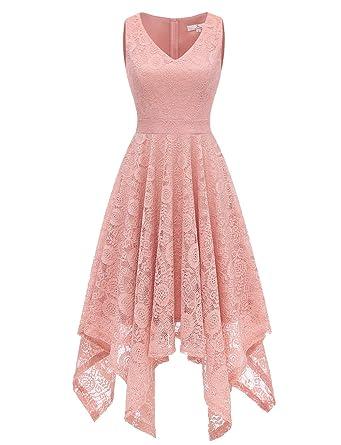 83ebee210664 Dressystar 0036 Vintage Lace V-Neck Asymmetrical Handkerchief Hem Cocktail Formal  Swing Dress XS Blush