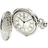 Charles-Hubert, Paris 3922Classic Collection acabado chapado en cromo latón reloj de bolsillo de cuarzo