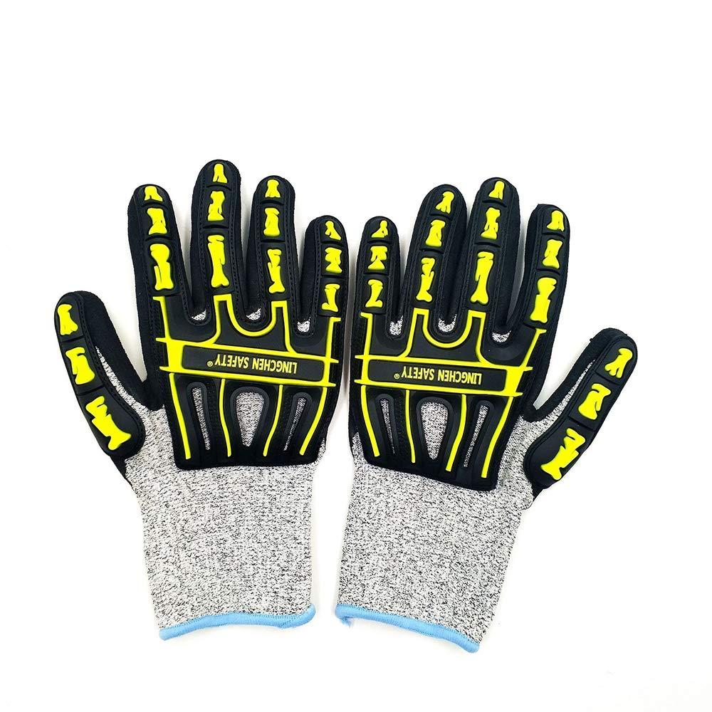KOUYA Anti-Collision Gloves, Anti-Vibration Mechanical Work Gloves Shockproof Vibration Protective Gloves Reduce Drilling and Mining Machine Work Gloves