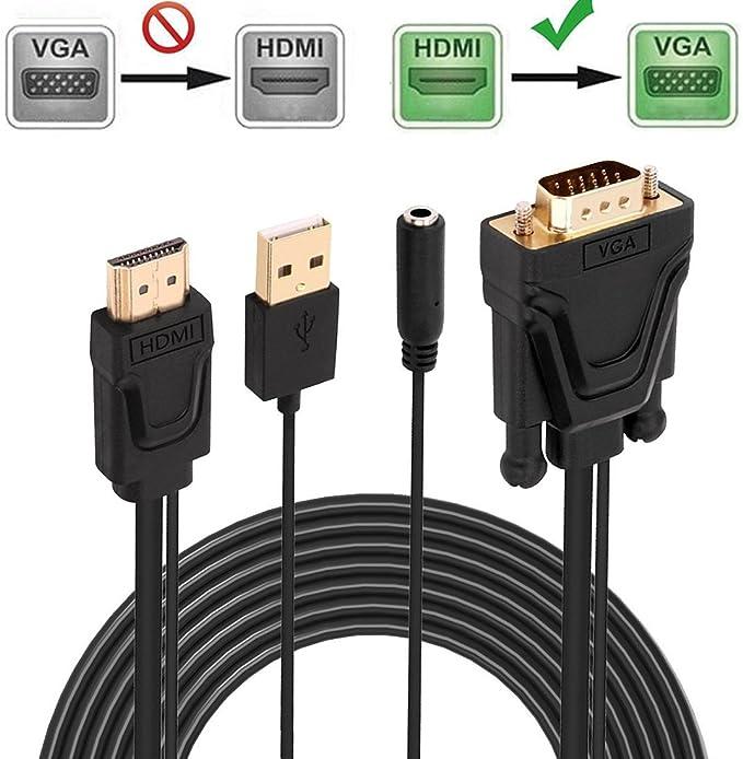 ASONRL - Adaptador VGA a HDMI para HDTV, Ordenador, proyector con ...