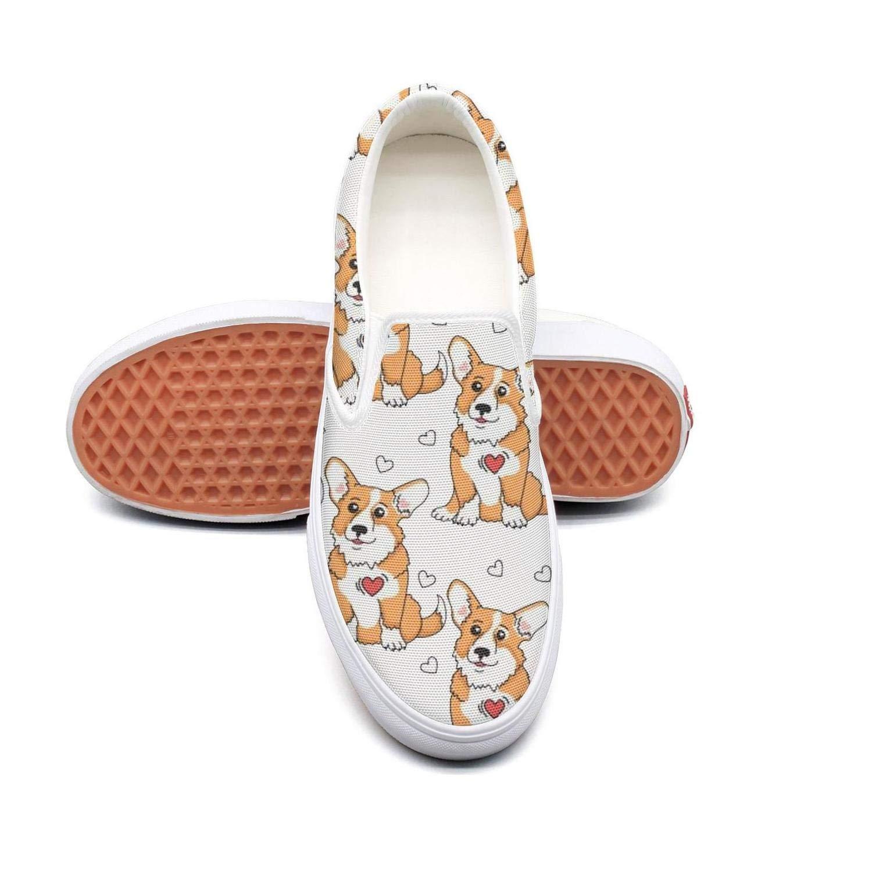 LOKIJM Cute Corgi White Ladies Sneakers for Women Sports Skid-Proof Running Shoes