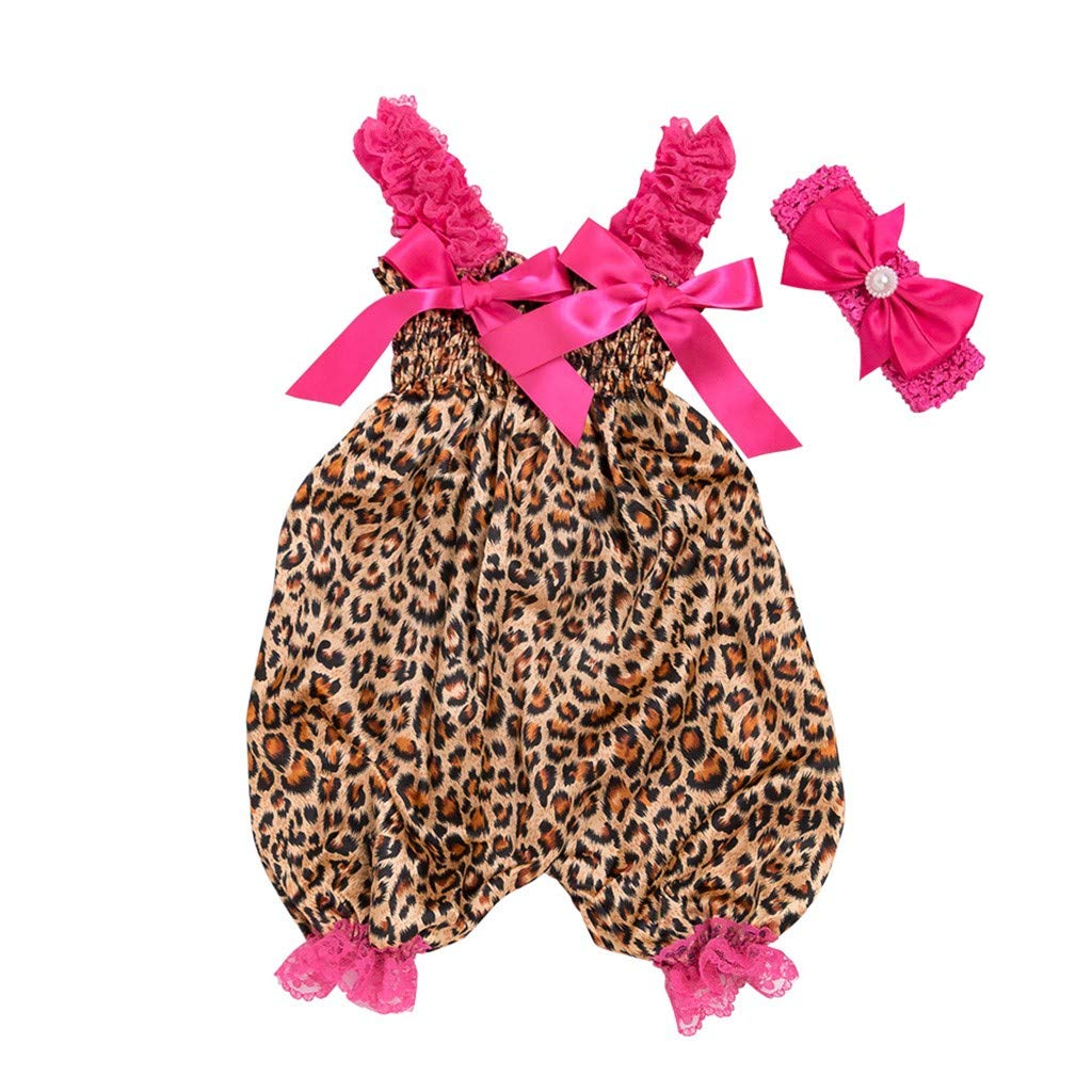 NUWFOR Toddler Baby Boys Girls Leopard Print Romper Jumpsuit+Headband Set Outfit (Multicolor,6-12 Months)