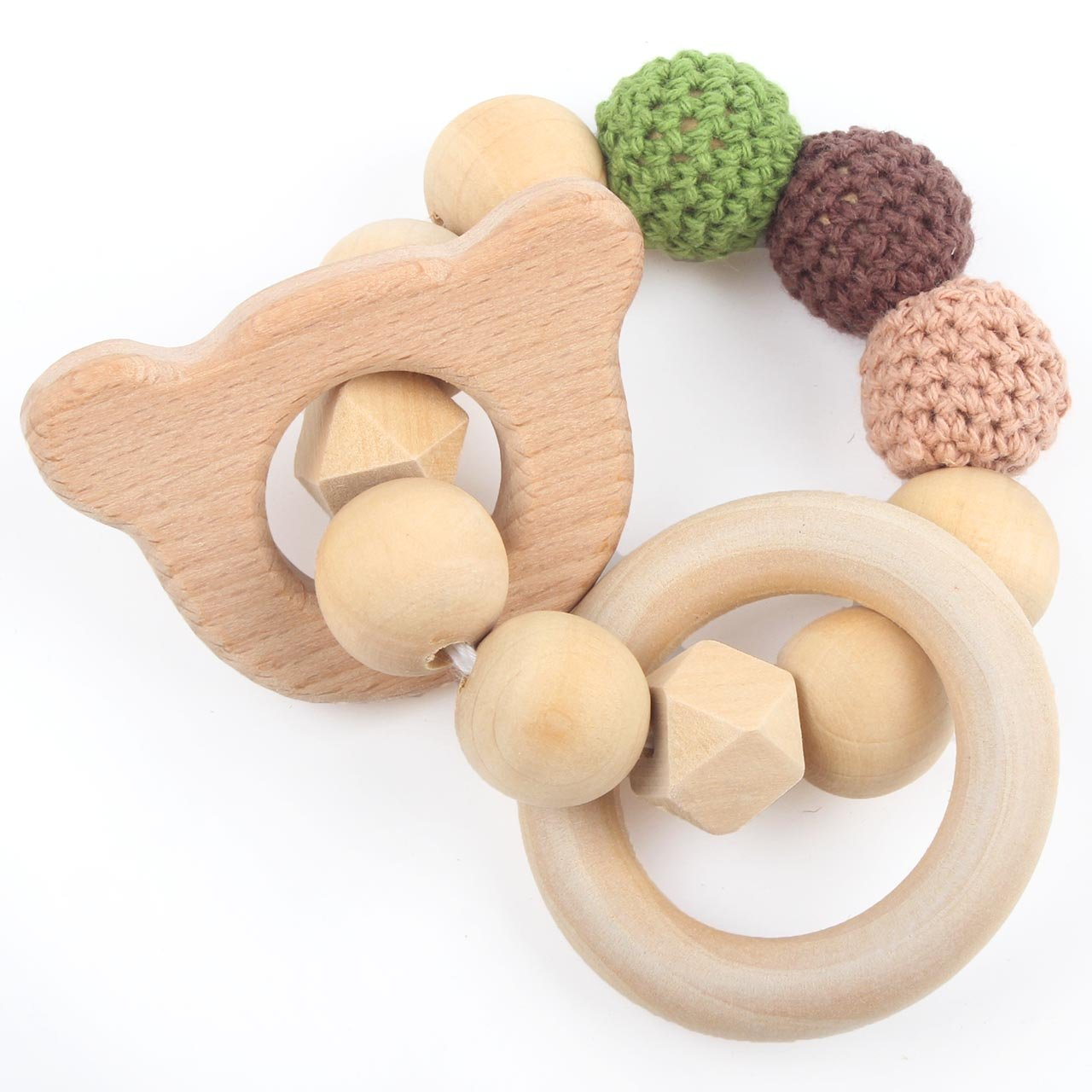 HI BABY MOMENT Baby Nature Teether Grasping Toys Cartoon Animal Bear Shape Boys and Girls Rattle DIY Jewelry Teething, Army Green