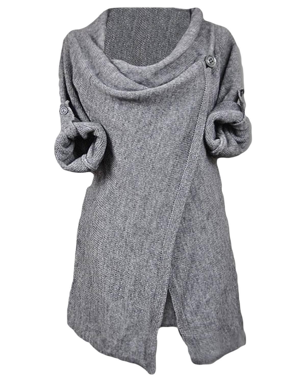 CUPSHE Fashion Women's Asymmetric Hem Split Wrap Sweater Poncho Coat (L, Grey)