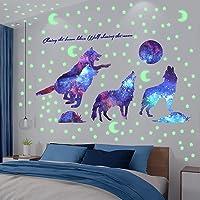 XiYee Muursticker, fluorescerend, sterrenhemel & wolf, wandsticker, lichtgevende sticker, wanddecoratie, cadeau voor…