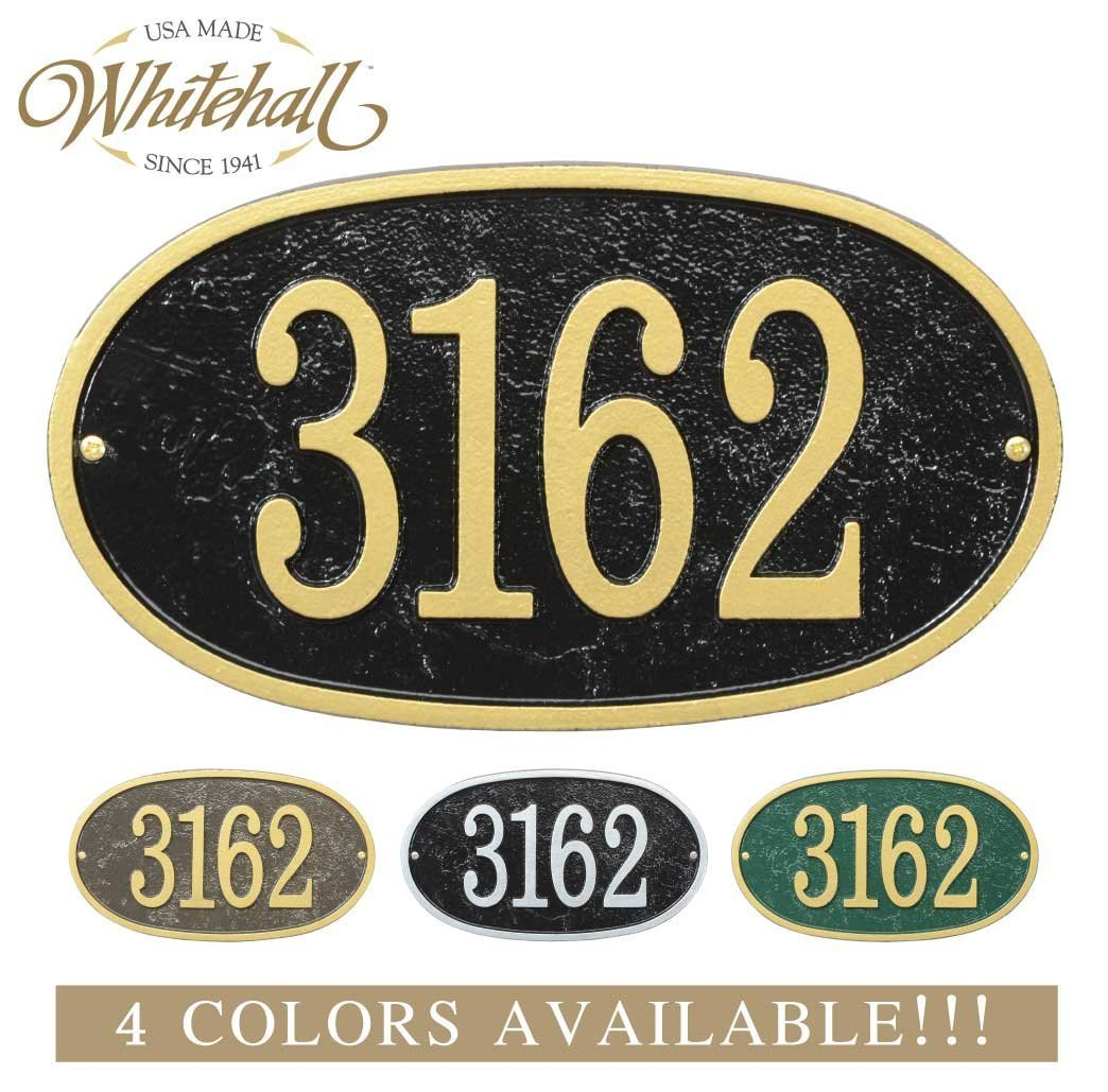 Metal Address Plaque Personalized Cast with Oval Shape. Four Colors Available! Custom House Number Sign. Whitehall