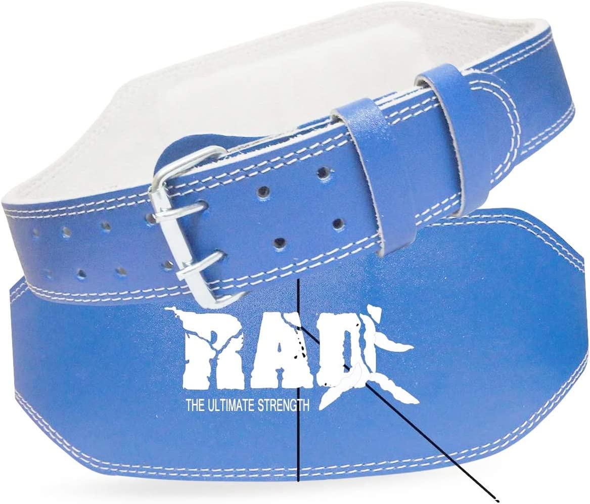 """RAD Blue Leather Belt 4/"""" Gym Power Weight Lifting Back Support Body building"""