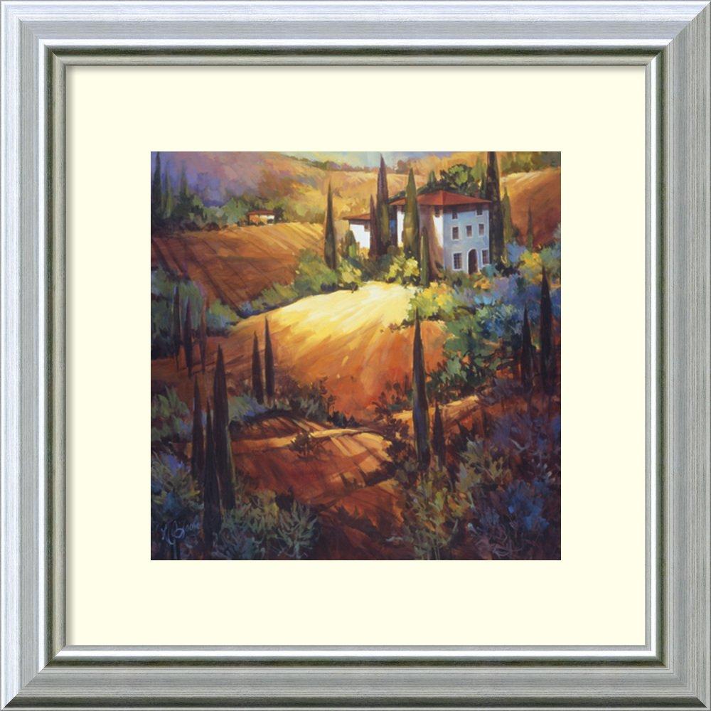 アートフレーム印刷' Morning Light Tuscany ' byナンシーオトゥール Size: 14 x 14 (Approx), Matted ブラウン 1598127 Size: 14 x 14 (Approx), Matted Warm Silver Swoop,mat:white B0134JZD1O