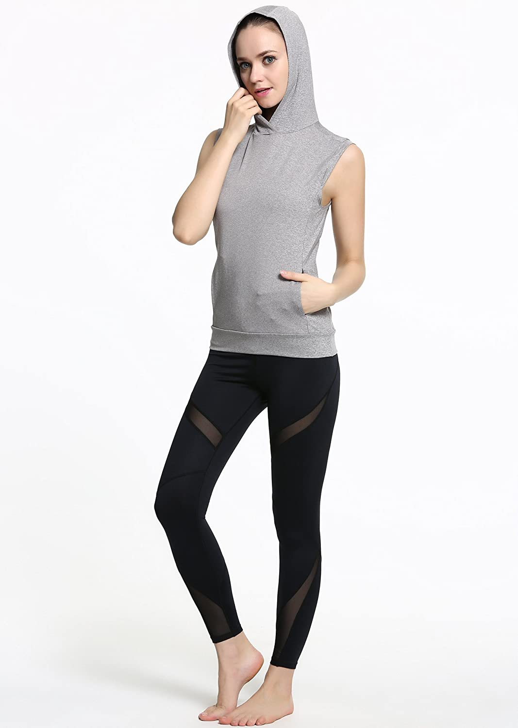 Campeak Active Casual Workout Sport Sleeveless Hoodie Activewear for Womens