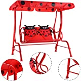 HAPPYGRILL Mini Patio Swing, 2 Seats Porch Swing with Safety Belt, Outdoor Lounge Chair Hammock with Canopy for Kids, Red