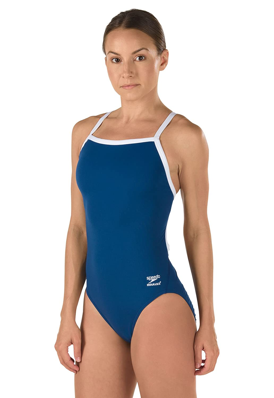 Navy 26 Speedo Girls' Race Endurance+ Solid Flyback Training Suit Swimsuit
