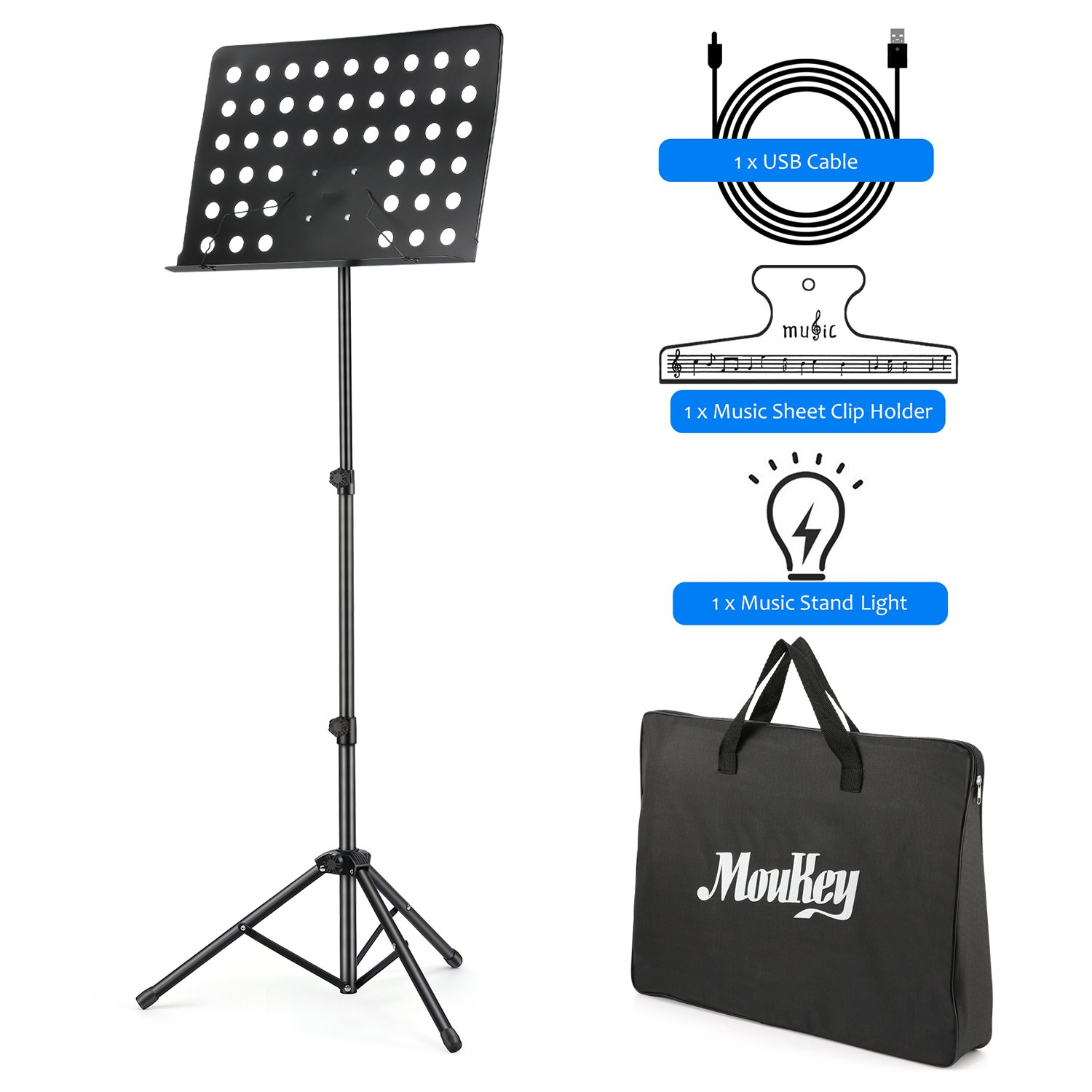 Moukey MMS-2 Metal Adjustable Sheet Music Stand Portable With Music Stand Light Carrying Bag Black