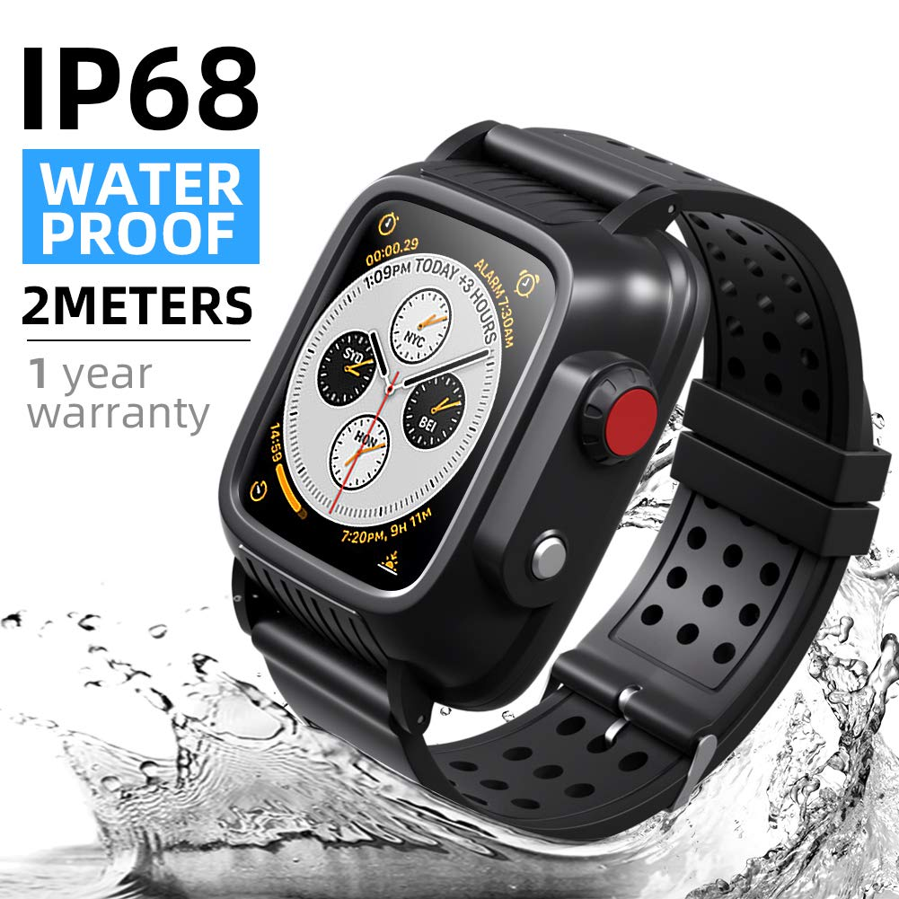 Waterproof Apple Watch Case 38mm Series 3 with 3 Soft Silicon Band, Meritcase IP68 iWatch Waterproof Case with Built-in Screen Protector for 38MM Apple Watch Series 3 by meritcase