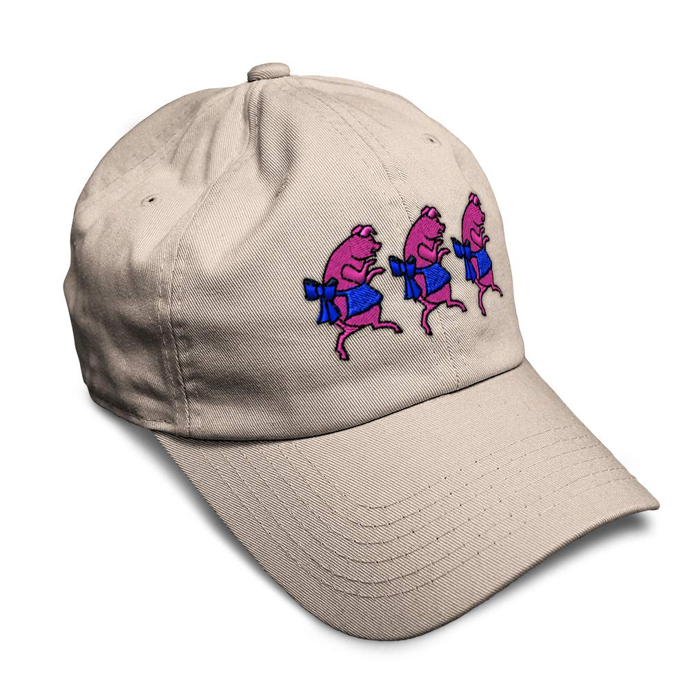 Custom Soft Baseball Cap 3 Pigs Embroidery Twill Cotton Dad Hats for Men /& Women