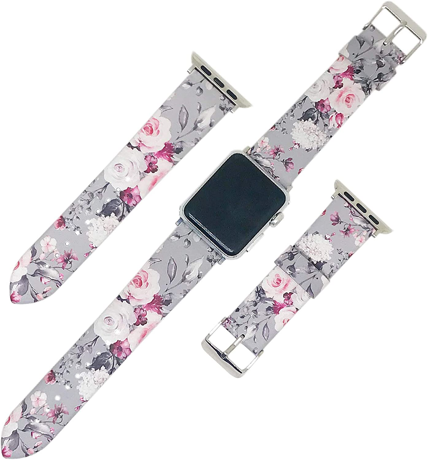 Replacement Band Compatible with Apple Watch iWatch SE & Series 6 & Series 5 4 3 2 1 PU Leather Watch Thin Wristband Strap for Women
