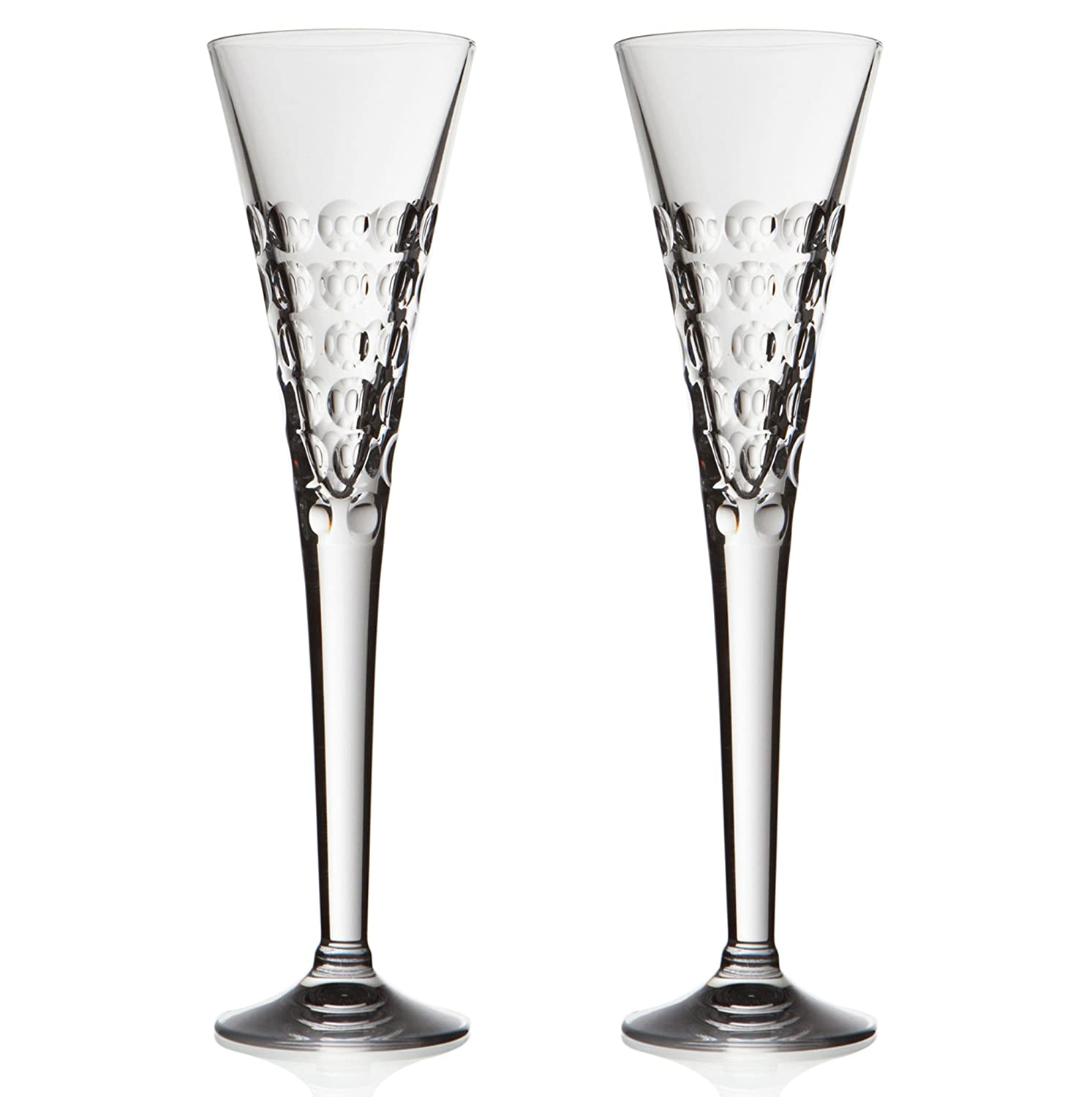 2x Extra Tall, Bubbles Cut Crystal, Champagne Toasting Flutes 17cl RCR Crystal