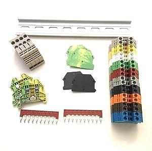 Dinkle UL Every Color DIN Rail Terminal Block Kit 20 DK2.5N 12 AWG Gauge 20A 600V Ground DK4N-PE Jumper DSS2.5N-10P End Covers End Brackets