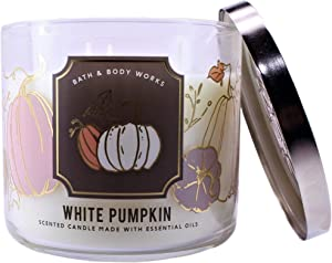 White Barn Candle Company Bath and Body Works 3-Wick Scented Candle w/Essential Oils - 14.5 oz - White Pumpkin (White Pumpkin, Autumn Spice Blend, Ground Cinnamon)