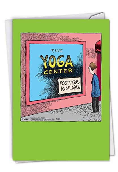 C6363BDG Yoga Center: Hysterical Birthday Greeting Card, with Envelope.