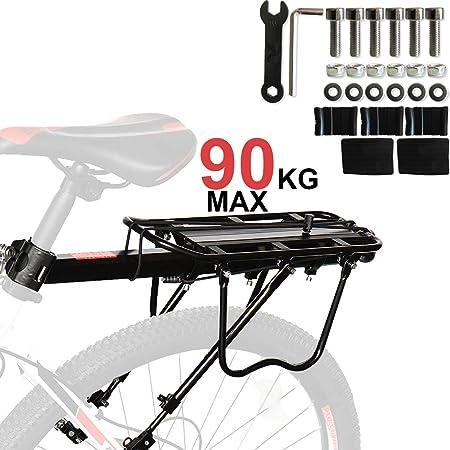 Fuerte AleacióN De Aluminio Material 90Kg Capacidad Bicicleta Estante Trasero, Portaequipajes Para Bicicletas, Anti-CorrosióN Y Alta Dureza Adaptarse A Casi Bicicletas, Bicicleta De MontañA, Etc.: Amazon.es: Deportes y aire libre