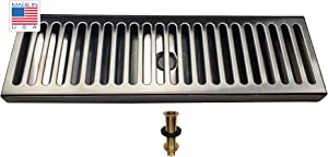 "Bev Rite CDT165D Drip Tray with Drain, 16 x 5, 16"" X 5"", Stainless Steel"
