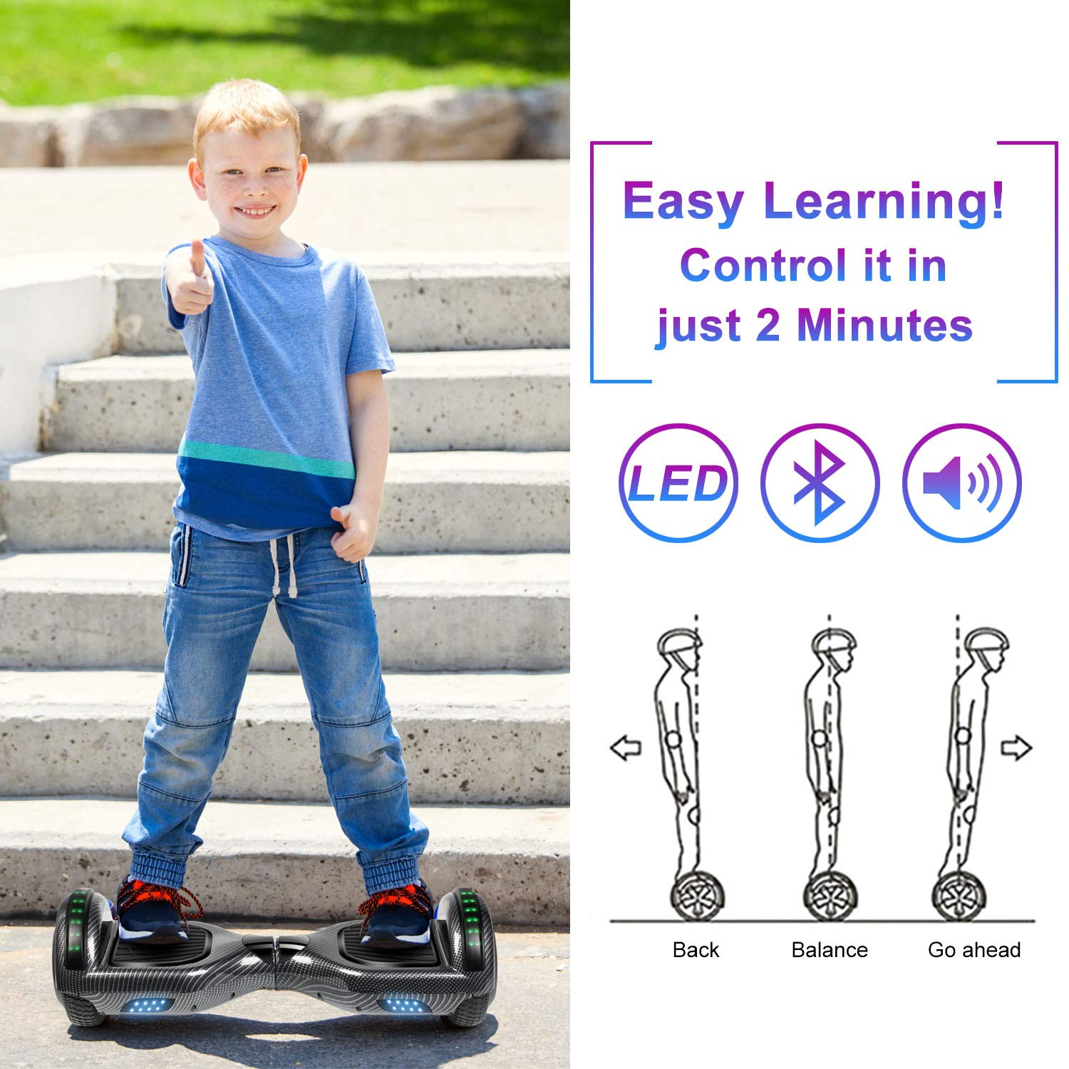 SISIGAD Hoverboard Self Balancing Scooter 6.5'' Two-Wheel Self Balancing Hoverboard with Bluetooth Speaker and LED Lights Electric Scooter for Adult Kids Gift UL 2272 Certified - Carbon Black by SISIGAD (Image #6)