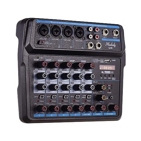 JJmooer Mini mezclador musical U6 Mezclador de audio de 6 ...