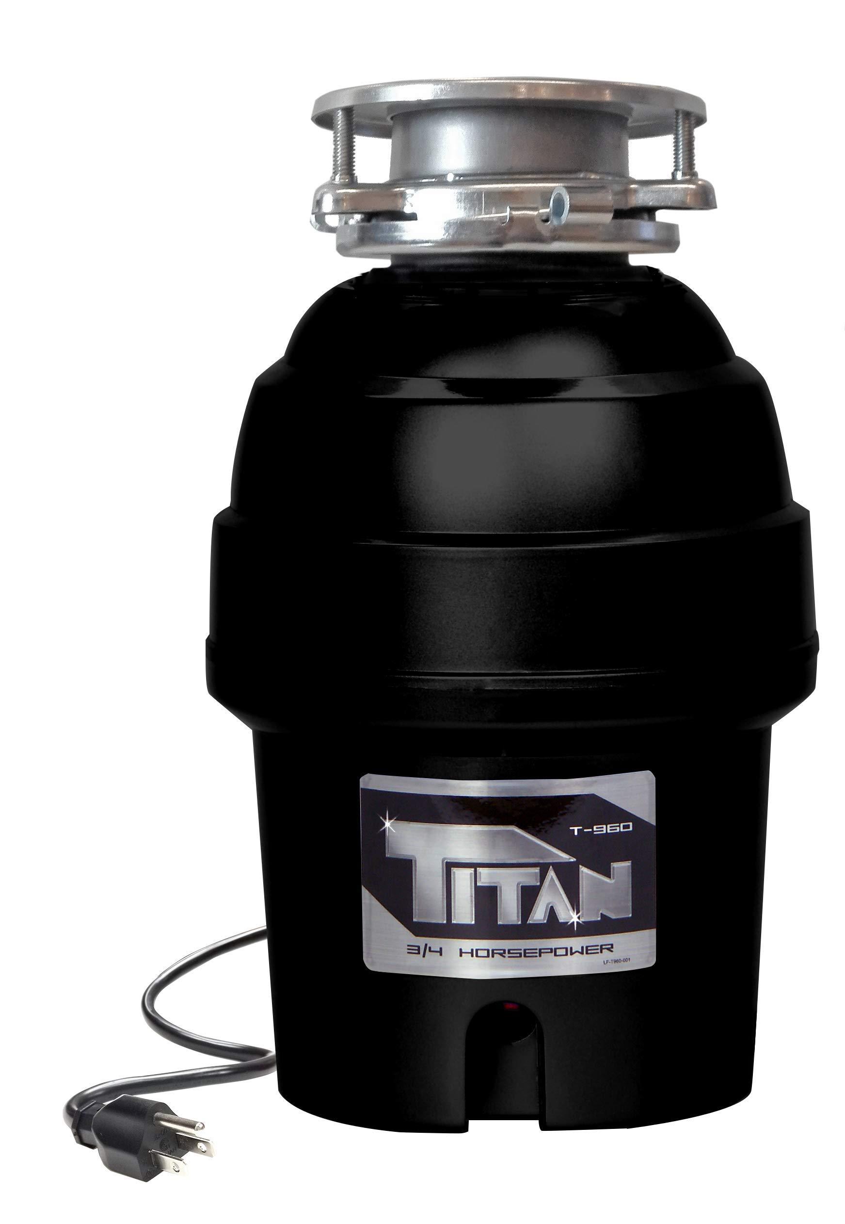 TITAN US-TN-T-960 T-960 Waste Disposer, 3/4 HP - Deluxe, Silver