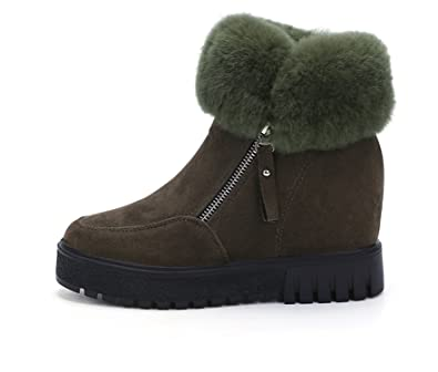 Ankle Boots Women Plush Warm Winter Boots Faux Fur Wedge Snow Boots Thick Platform Shoes Woman Booties