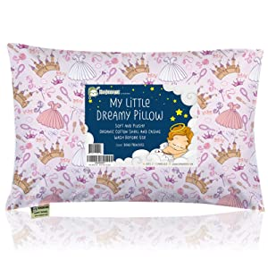 Toddler Pillow with Pillowcase - 13X18 Soft Organic Cotton Baby Pillows for Sleeping - Machine Washable - Toddlers, Kids, Infant - Perfect for Travel, Toddler Cot, Bed Set (Dear Princess)