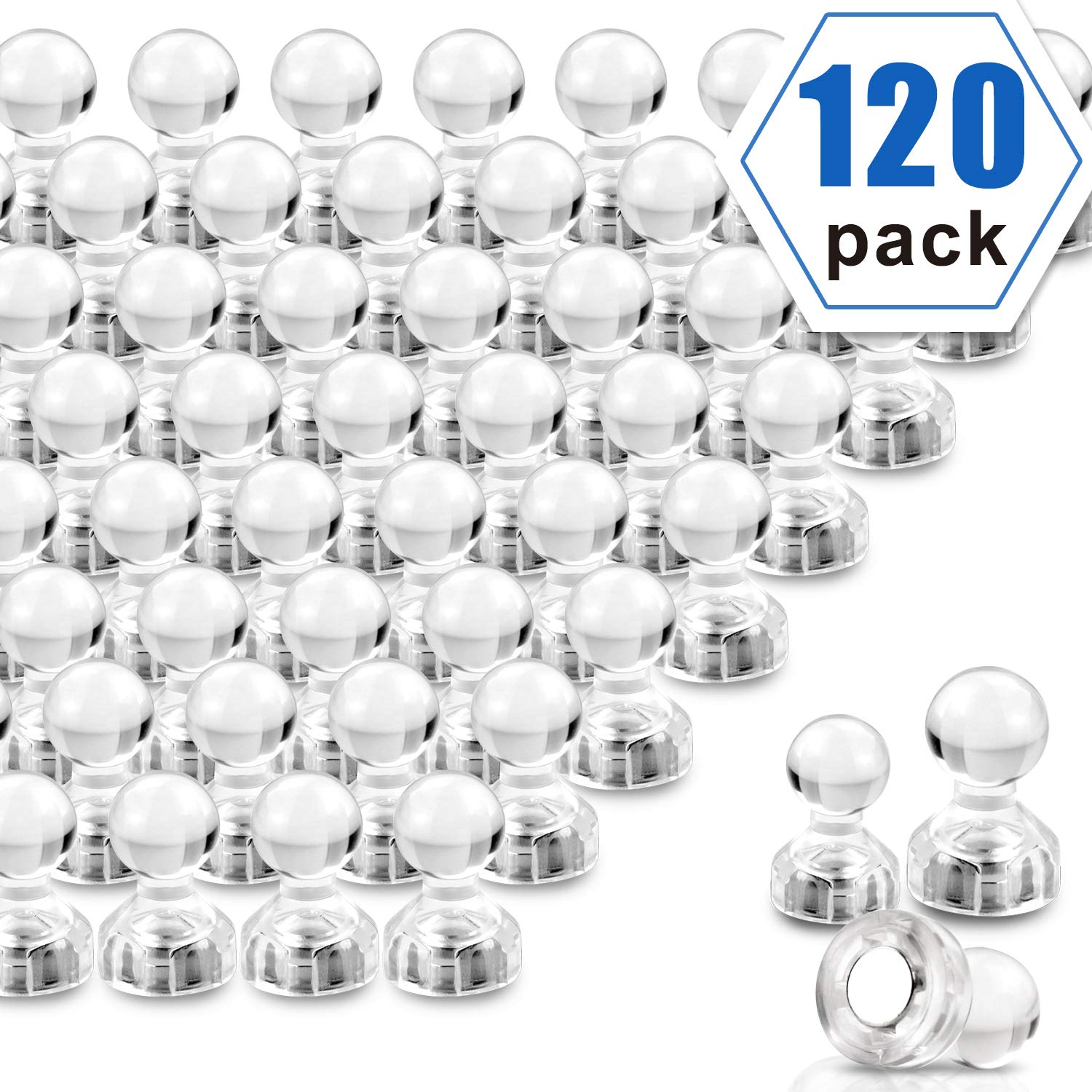 Push Pin Magnets, Transparent crystal colour Fridge Magnets, 120 Pack Strong Magnets, Perfect for Whiteboard Magnets, Office Magnets, Map Magnets