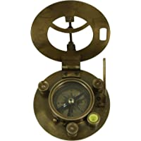 Shalinindia Brass Sundial And Compass - Antique Inspired Design - Leather Case Included -3 Inch Travel Accessories