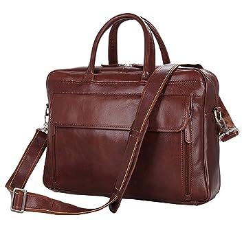 berchirly Retro Hombres de Piel Resistente maletín de 15 Pulgadas Bolsa de Ordenador portátil Bolso: Amazon.es: Equipaje
