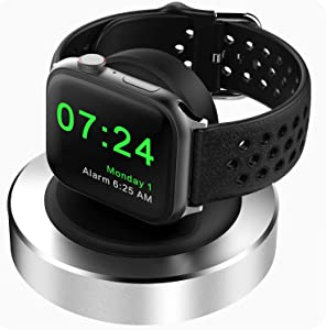 Compatible for Apple Watch Charger Stand, KINGRUNNING Designed for iWatch Charging Stand Dock Compatible with Apple Watch Series 6/SE/5/4/3/2/1 44mm/42mm/40mm/38mm, Supports Nightstand Mode,Silver