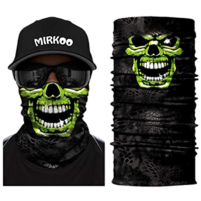 MIRKOO 3D Breathable Seamless Tube Face Mask, Dust-proof Windproof UV Protection Motorcycle Bicycle ATV Face Mask for Cycling Hiking Camping Climbing Fishing Hunting Motorcycling (Skull-080): Automotive