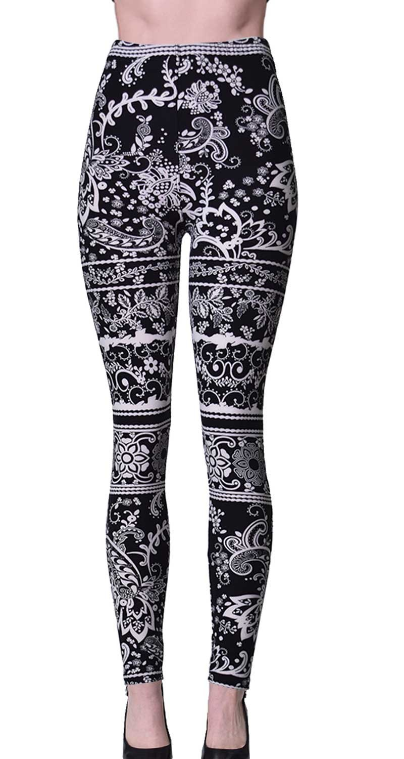 VIV Collection Regular Size Printed Brushed Leggings (Nighttime Bloom)
