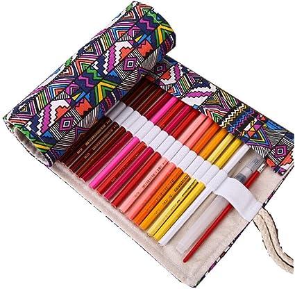 XY Fancy Vintage Canvas Roll Up estuche étnico dibujo Wrap Soporte de color dibujo estuche bolsa para la escuela de papelería 72 Solts: Amazon.es: Oficina y papelería