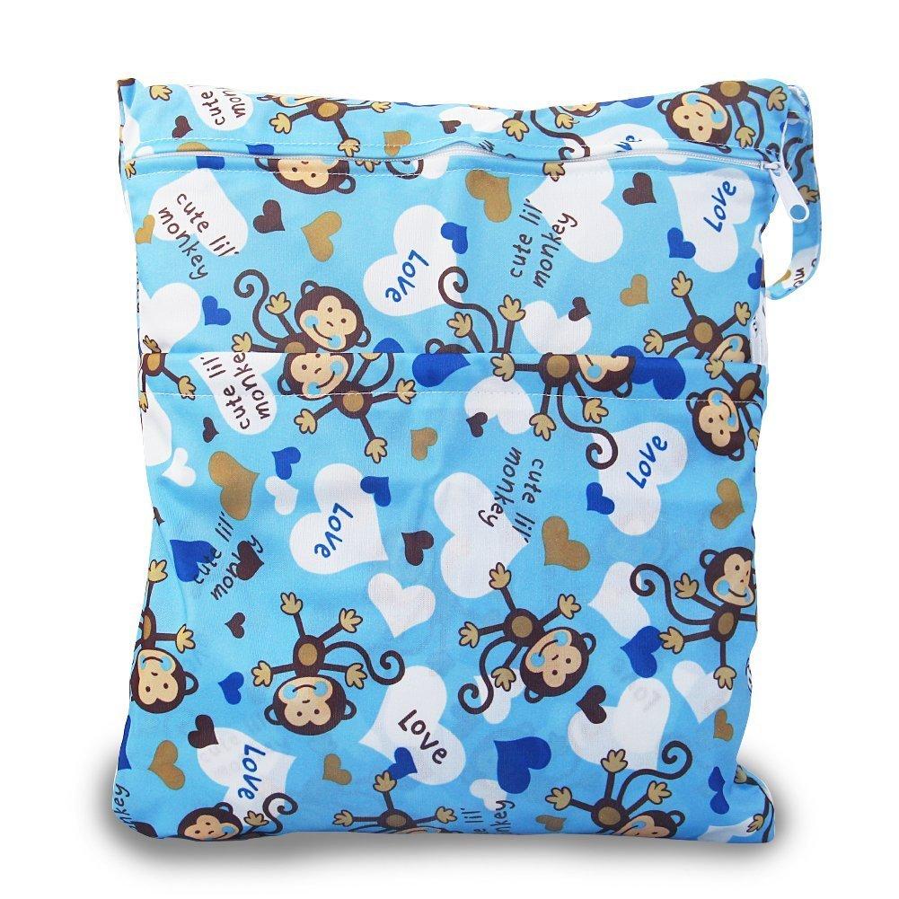 iZiv(TM) Impermeabile del Bambino Riutilizzabile Secco ed Umido del Pannolino Bambino Sacchetto 2 Zipper Stampa Sacchetto del Pannolino(Animale) Dlife FD00025