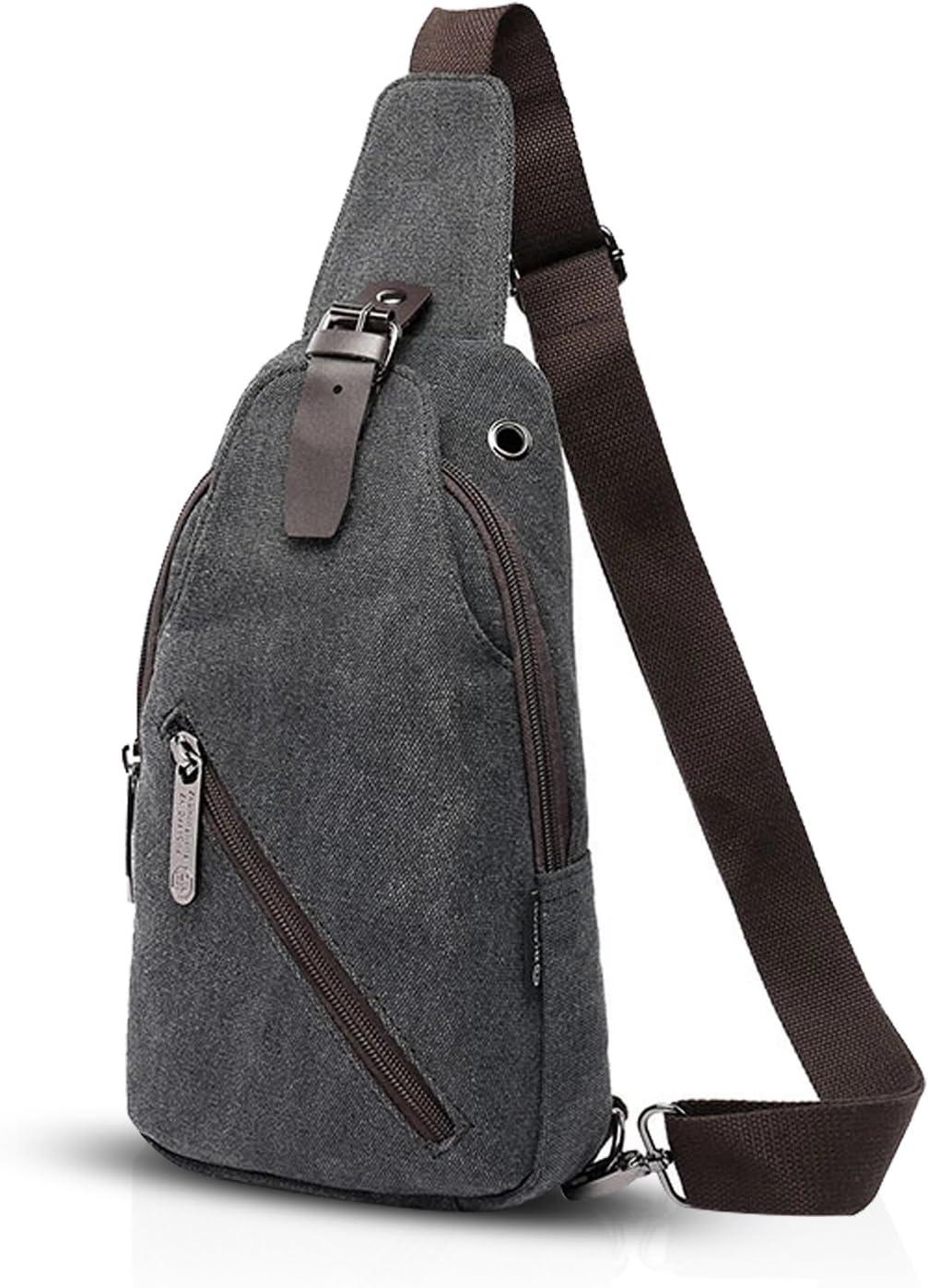 FANDARE Vintage Sling Bag Messenger Bag One Shoulder Backpack Crossbody Bag Travel Bag Women//Men Canvas Black