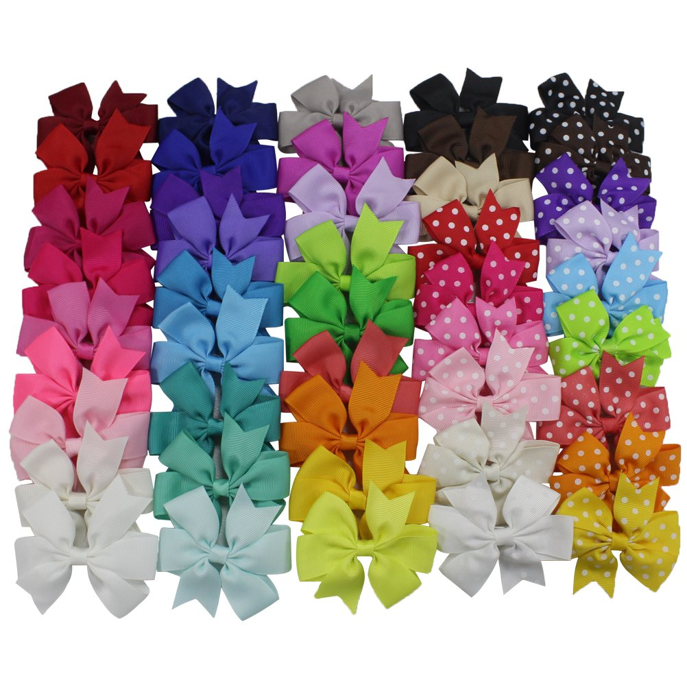 45PCS 3 Inch Toddlers Kids Grosgrain Ribbon Hair Bows for Baby Girl Infant Girls Child Alligator Hair Clips Barrettes